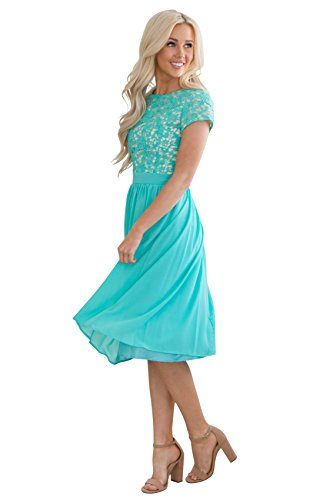 22be07f2f2a Olivia Lace & Chiffon Modest Dress in Turquoise, Tiffany Blue or ...
